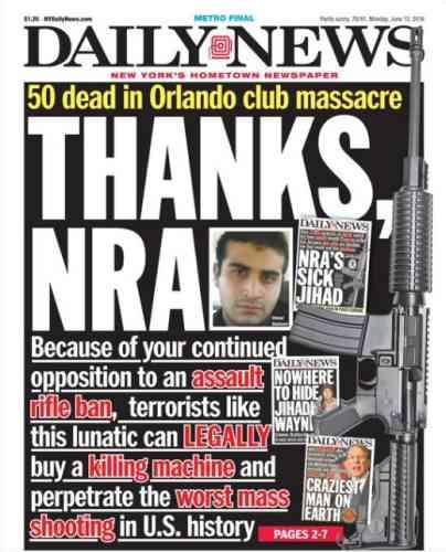 Le « Daily News» s'en prend au lobby américain de promotion des armes à feu avec un «Merci la NRA».