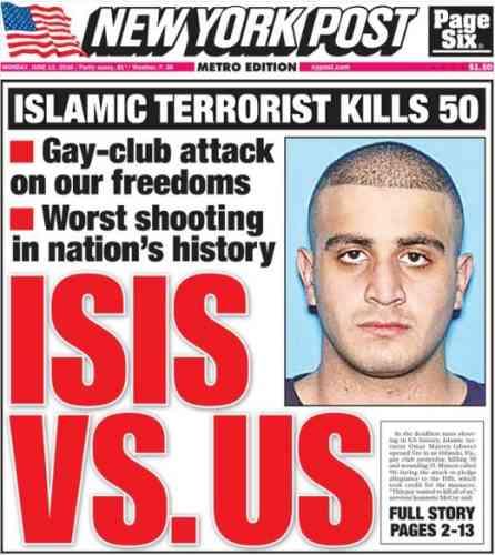 Pour le« New York Post», après la tuerie d'Orlando c'est« l'Etat islamique contre l'Amérique».