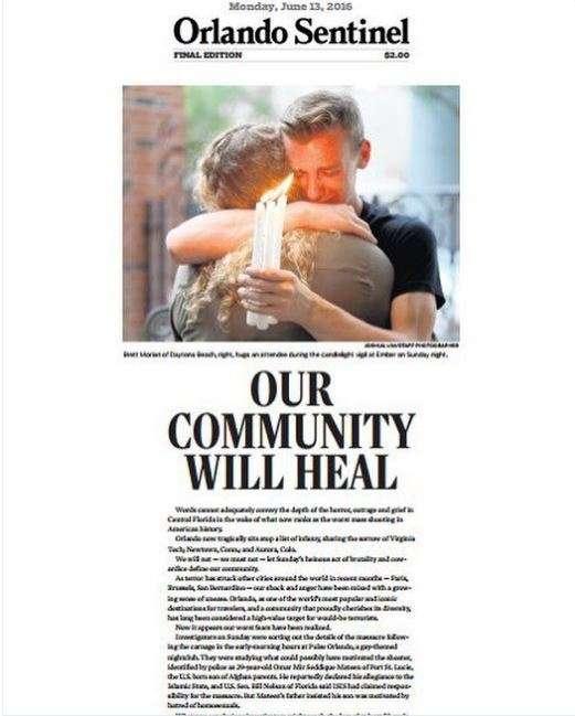 Sur une « une« poignante, l'« Orlando Sentinel» publie un éditorial titré« Notre communauté guérira».