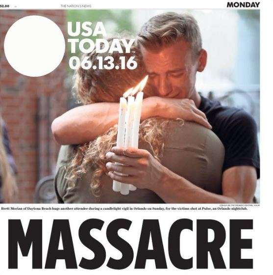 La même photo à la Une de USA Today au lendemain du « massacre ».