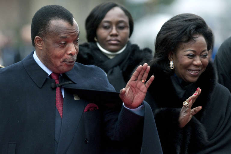 Denis Sassou-Nguesso et son épouse Antoinette lors du Sommet de la francophonie, à Montreux (Suisse), en 2010.