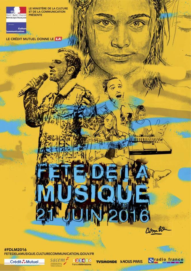 Affiche de la Fête de la musique du 21 juin 2016, réalisée par Combo Culture Kidnapper.