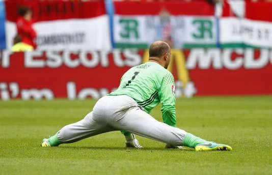Gabor Kiraly, gardien de la sélection hongroise, lors du match contre l'Autriche, mardi 14 juin, à Bordeaux.