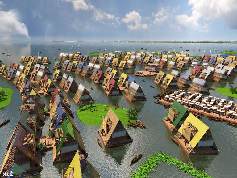Vue d'artiste de l'agence NLE d'une communauté flottante dans les lagunes d'Afrique.