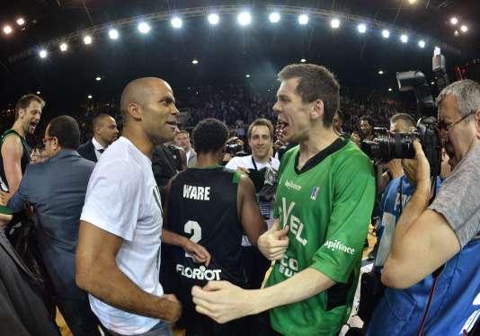 Le président de l'ASVEL Tony Parker avec son joueur star, le vétéran David Andersen