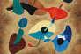 Composition abstraite peinte par Hergé en 1963, huile sur toile.