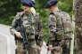 Soldats français à Evian-Les-Bains, en juin.