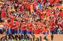 Les joueurs espagnols célèbrent leur victoire contre les Tchèques, le 13 juin, à Toulouse.