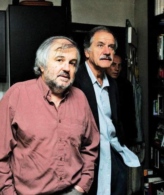 Gilles Lemaire avec le député EELV Noël Mamère, le 21 septembre 2006, à Paris.