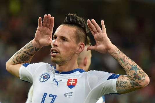 Le Slovaque Marek Hamsik célèbre son but, mercredi 15 juin.
