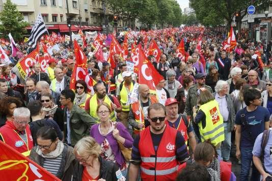 Manifestation contre la loi travail, à Paris, le 14 juin.