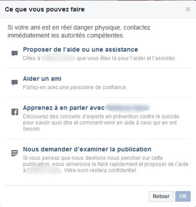 Le formulaire final du dispositif antisuicide de Facebook.