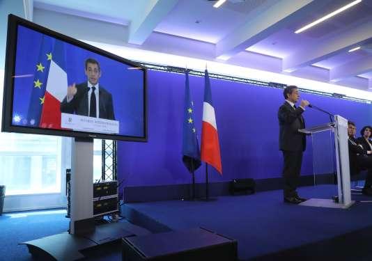 Nicolas Sarkozy au siège du parti Les Républicains le 15 juin 2016.