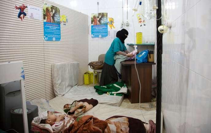 Un hôpital clandestin dans l'est d'Alep, le 9 juin. karam al-masri/afp