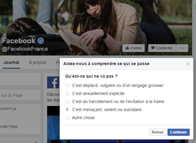 Capture écran de la fenêtre de signalement dans Facebook.