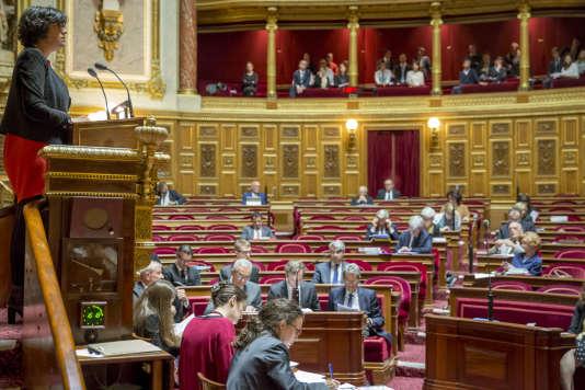 Myriam El Khomri, ministre du travail, lors du premier jour d'examen du projet de loi travail au Sénat à Paris, le 13 juin 2016.