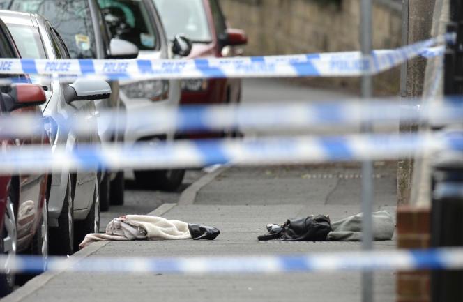 Scène du meurtre de la députée travailliste Jo Cox àBirstall (Yorkshire), le 16 juin.