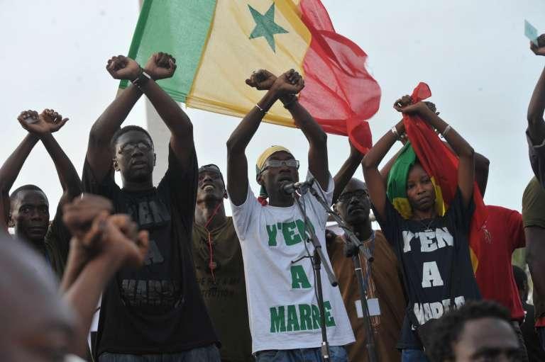 Des militants du mouvement citoyen« Y en a marre», à Dakar, en septembre 2011.
