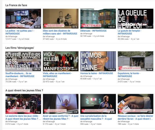 Capture d'écran de la chaîne youtube d'Infrarouge.