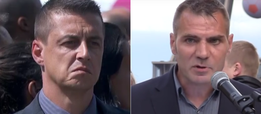 A gauche, le policier qui a refusé de serrer la main à François Hollande et à Manuel Valls. A droite, Sébastien Jallamion, policier condamné pour des propos islamophobes.