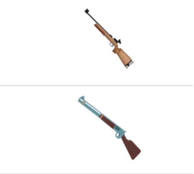 L'émoticône de fusil retiré par Unicode à la demande d'Apple.