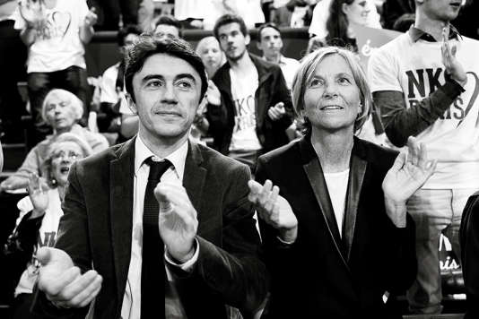 Yann Wehrling et Marielle de Sarnez àParis, le 19 mars 2014, lors du meeting de fin de campagne de la candidate UMP aux municipales de Paris Nathalie Kosciusko-Morizet.