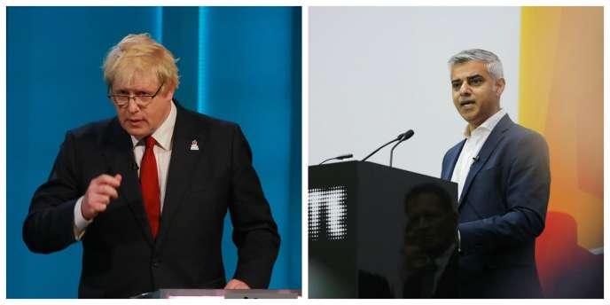 Boris Johnson, l'ancien maire de Londres, et Sadiq Khan, son successeur.