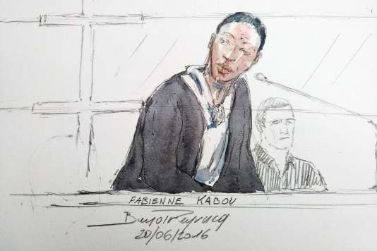 Dessin d'audience de Fabienne Kabou durant le premier jour de son procès à la cour d'Assise de saint-Omer le 20 juin 2016.