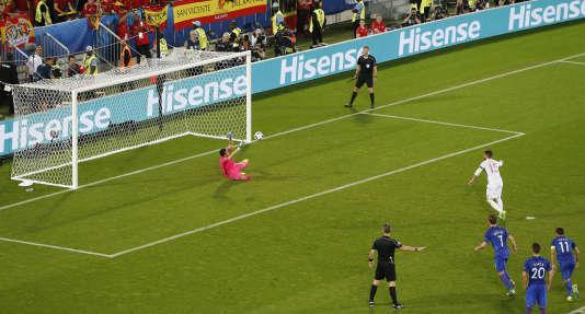 Penalty lors du match Croatie-Espagne, mardi 21 juin.