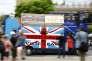 Une camionete des supporteurs du « Non» au referendum passe parliament square à Londres le 21 juin.