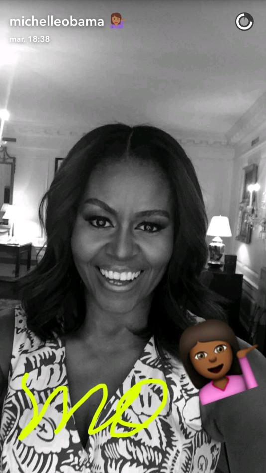 Le premier message publié par Michelle Obama sur Snapchat.