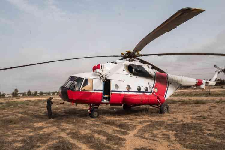 Le 20 juin. Un hélicoptère évacue les blessés les plus graves vers l'hôpital de Misrata.