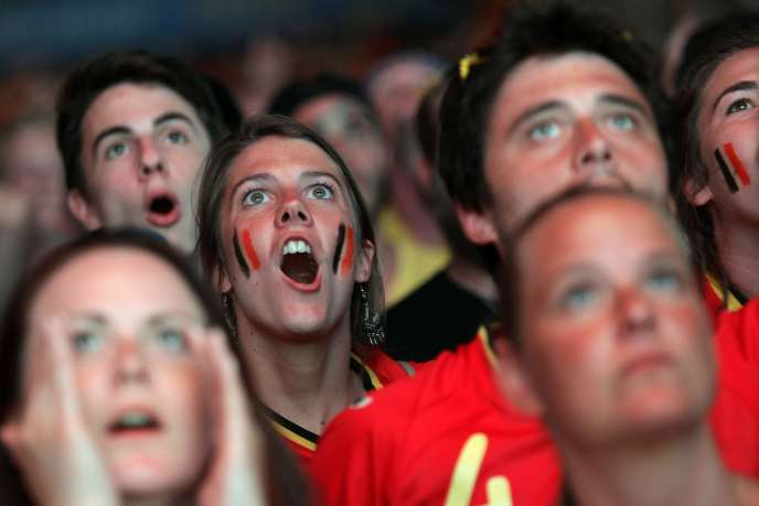 Des supporteurs belges, le 22 juin dans la fanzone de Nice.