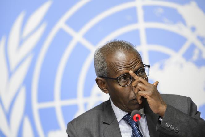 Le conseiller du président érythréen, Yemane Gebreab, lors d'une conférence de presse à Genève, le 8 juin.
