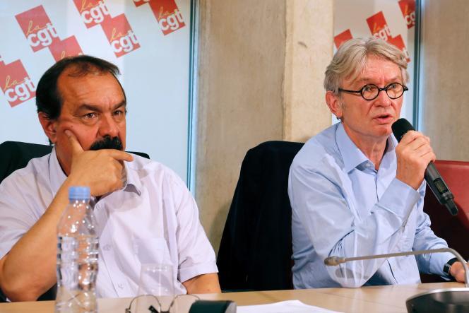 Jean-Claude Mailly et Philippe Martinez le 22 juin lors d'une conférence de presse à Paris.