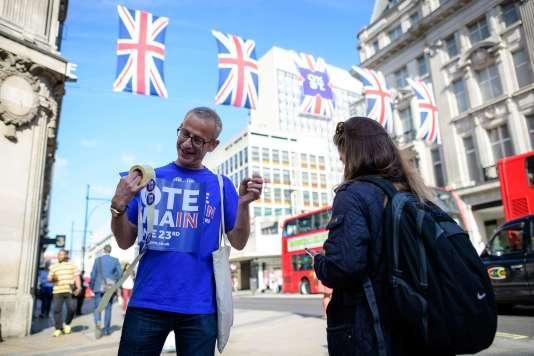 La campagne en faveur du vote pour le maintien du Royaume-Uni dans l'Union européenne à Londres.