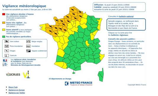 La carte de vigilance de Météo France jeudi 23 juin à 13 heures.