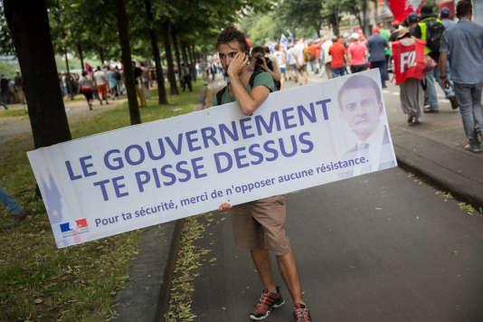 Manifestation contre la loi travail à la Bastille, à Paris, jeudi 23 juin.