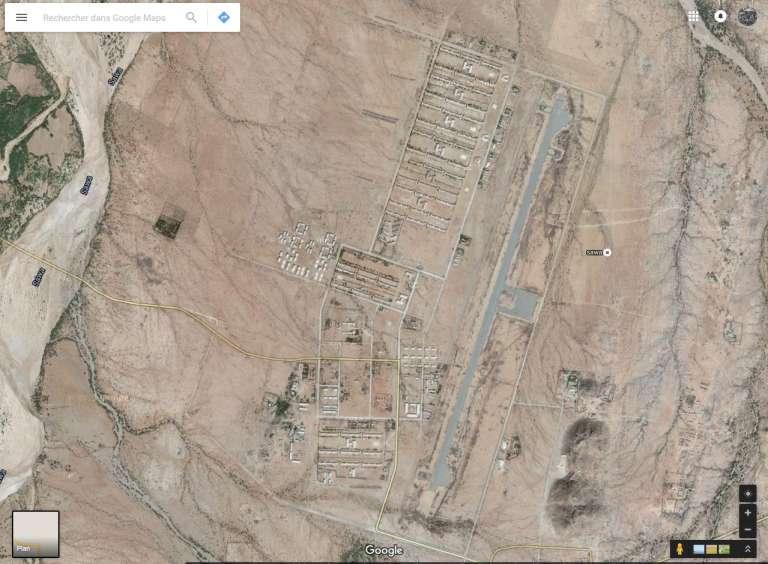 Vue satellite du camp de Sawa, au centre du de l'Erythrée, à une vingtaine de kilomètres de la frontière soudanaise.