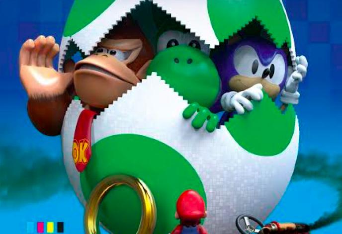 Donkey Kong, Yoshi et Sonic, trois figures du jeu de plate-forme des années 1990.