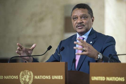 Yacoub Al-Hillo, coordinateur humanitaire de l'ONU en Syrie, lors d'un discoursà Genève le 23 juin.