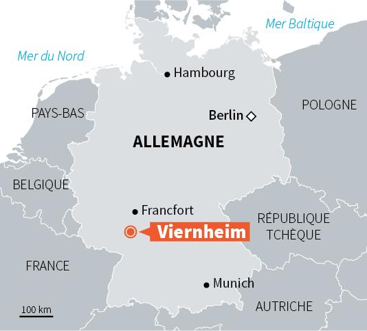 Carte de situation deViernheim en Allemagne.
