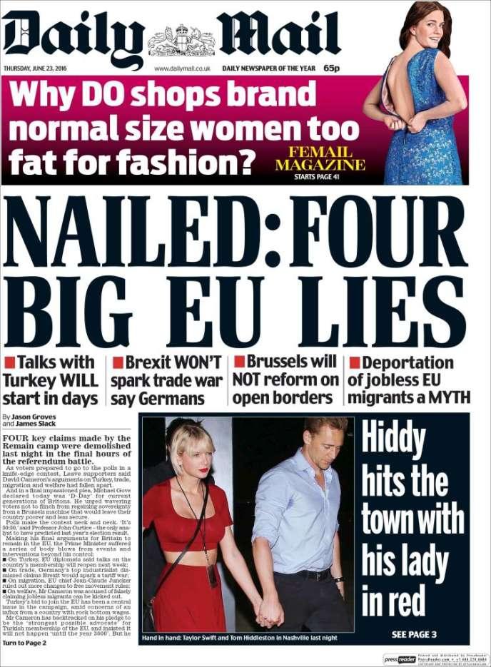 La «une» du «Daily Mail» du 23 juin 2016.