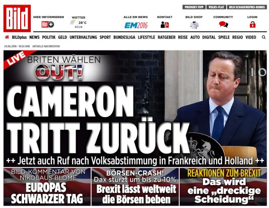 Le site de «Bild», le 24 juin.