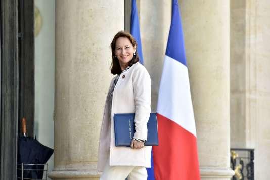 Le 24 juin, la ministre de l'environnement et de l'énergie, Ségolène Royal, sur les marches de l'Elysée.