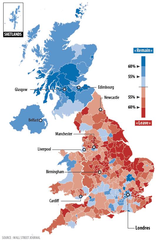 La carte des résultats du référendum pour ou contre le« Brexit», jeudi 23 juin.