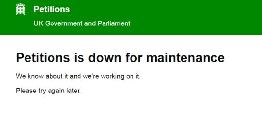 Capture d'écran du site Petition.parliament.uk