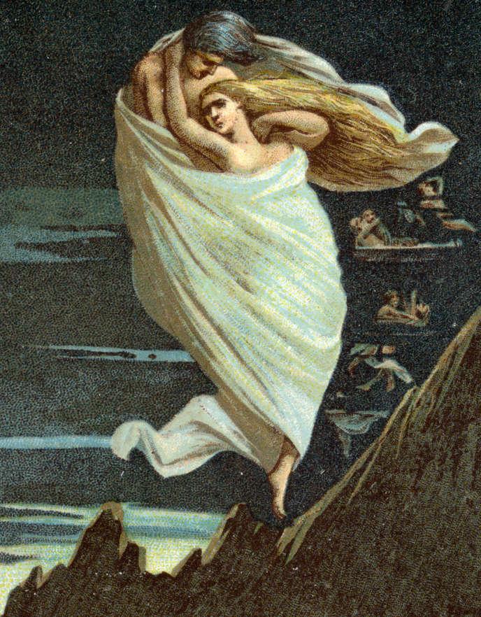 Représentation de Piero et Francesca, coupables d'infidélité et du pêche de chair dans le deuxième cercle, chromolithographie de 1918. Divine comédie (Divina commedia) de Dante Alighieri (1265-1321): chant V de l'Enfer.