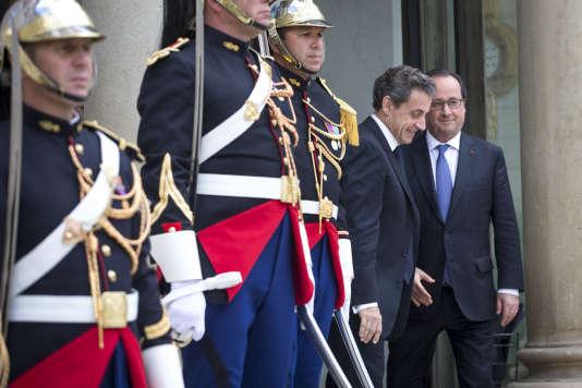 Nicolas Sarkozy, président du parti Les Républicains, a rencontré François Hollande,au Palais de l'Elysée à Paris le samedi 25 juin 2016