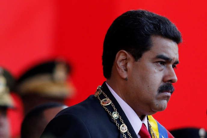 Le président du VenezuelaNicolas Maduro lors d'une parade militaire, le 24 juin à Caracas.